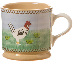 Small mug Hen spongeware pottery by Nicholas Mosse Pottery - Ireland - Handmade Irish Craft
