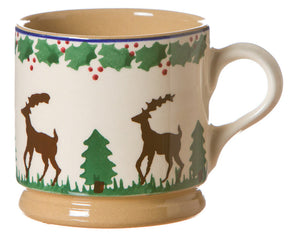 Small mug Reindeer spongeware pottery by Nicholas Mosse Pottery - Ireland - Handmade Irish Craft