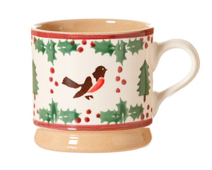 Nicholas Mosse Small Mug Winter Robin spongeware pottery by Nicholas Mosse Pottery - Ireland - Handmade Irish Craft