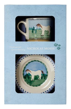 Box Set Small Mug and Tiny Plate Pony spongeware pottery by Nicholas Mosse, Ireland - Handmade Irish Craft - nicholasmosse.com