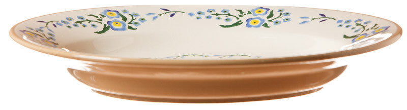 Small oval dish Forget Me Not (top view) spongeware pottery by Nicholas Mosse Pottery - Ireland - Handmade Irish Craft.