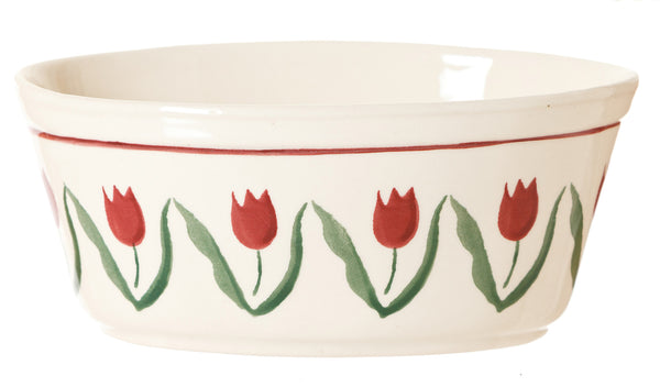 SMALL OVAL PIE DISH RED TULIP
