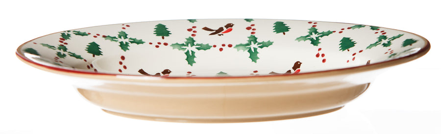 Nicholas Mosse Small Oval Serving Dish Winter Robin