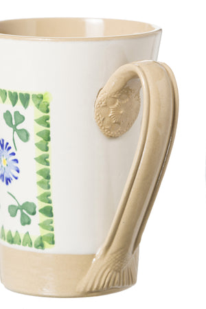 Tall Mug Clover 2 spongeware pottery by Nicholas Mosse Pottery - Ireland - Handmade Irish Craft