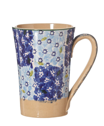 Tall Mug Dark Blue Light Blue Chess spongeware pottery by Nicholas Mosse Pottery - Ireland - Handmade Irish Craft