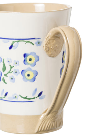 Tall Mug Forget Me Not 2 spongeware pottery by Nicholas Mosse Pottery - Ireland - Handmade Irish Craft