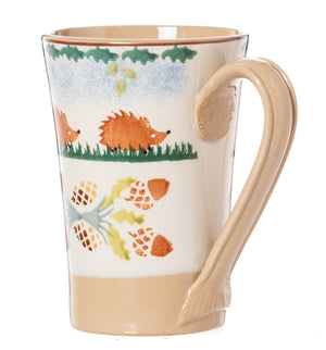 Nicholas Mosse Woodland Hedgehog Tall Mug spongeware pottery by Nicholas Mosse Pottery - Ireland - Handmade Irish Craft