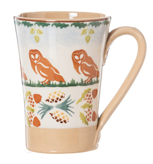 Nicholas Mosse Woodland Owl Tall Mug spongeware pottery by Nicholas Mosse Pottery - Ireland - Handmade Irish Craft