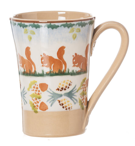 Nicholas Mosse Woodland Squirrel Tall Mug spongeware pottery by Nicholas Mosse Pottery - Ireland - Handmade Irish Craft