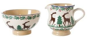 Tiny Bowl and Tiny Jug Reindeer spongeware pottery by Nicholas Mosse, Ireland - Handmade Irish Craft - nicholasmosse.com
