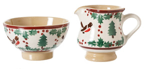 Tiny Bowl and Tiny Jug Winter Robin by Nicholas Mosse Pottery - Ireland - Handmade Irish Craft
