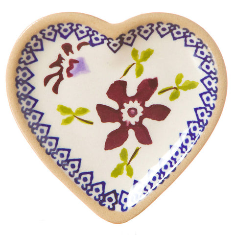 Tiny heart shaped plate Apple spongeware pottery by Nicholas Mosse Pottery - Ireland - Handmade Irish Craft.