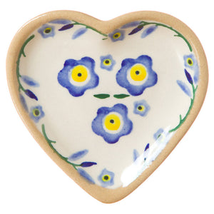 Tiny heart shaped plate Forget Me Not spongeware pottery by Nicholas Mosse Pottery - Ireland - Handmade Irish Craft.