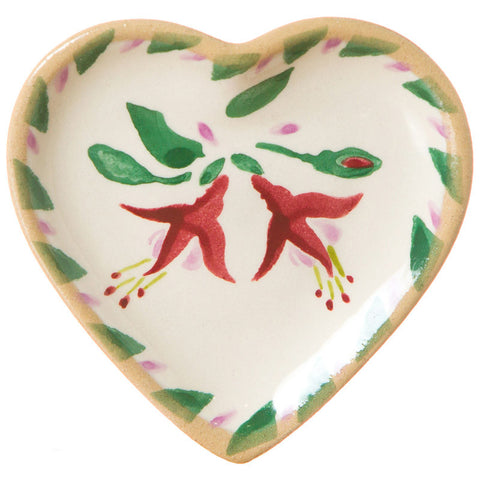 Tiny heart shaped plate Fuchsia spongeware pottery by Nicholas Mosse Pottery - Ireland - Handmade Irish Craft.