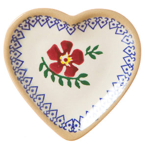 Tiny heart shaped plate Old Rose spongeware pottery by Nicholas Mosse Pottery - Ireland - Handmade Irish Craft.
