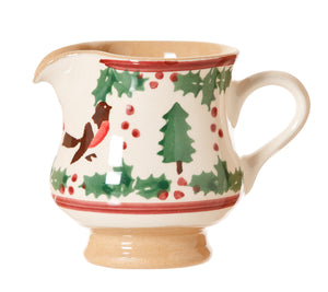 Tiny jug Winter Robin spongeware pottery by Nicholas Mosse