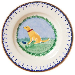 Tiny plate Dog spongeware pottery by Nicholas Mosse Pottery - Ireland - Handmade Irish Craft.