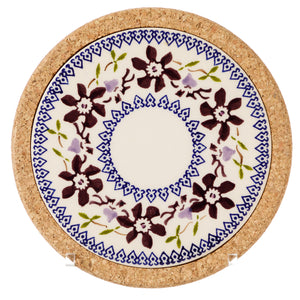 Trivet Round Clematis Nicholas Mosse Pottery handcrafted sponge ware Ireland