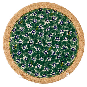 Trivet Round Green Lawn Nicholas Mosse Pottery handcrafted sponge ware Ireland