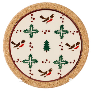 Trivet Round Winter Robin Nicholas Mosse Pottery handcrafted sponge ware Ireland