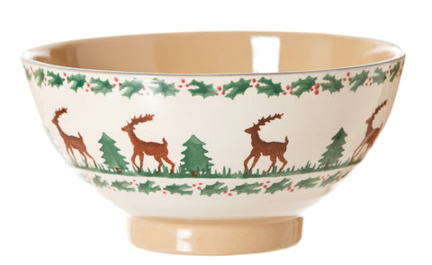 Vegetable bowl Reindeer spongeware pottery by Nicholas Mosse Pottery - Ireland - Handmade Irish Craf