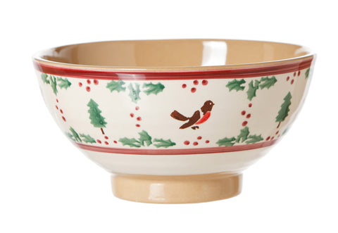 Vegetable bowl Winter Robin spongeware pottery by Nicholas Mosse Pottery - Ireland - Handmade Irish Craft