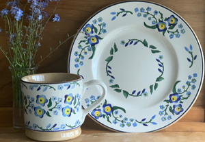 Large Mug and Lunch Plate  Set Forget Me Not Nicholas Mosse Pottery handcrafted spongeware