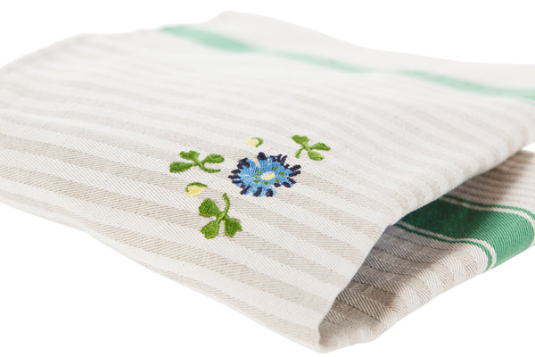 TEA TOWEL CLOVER GREEN STRIPE