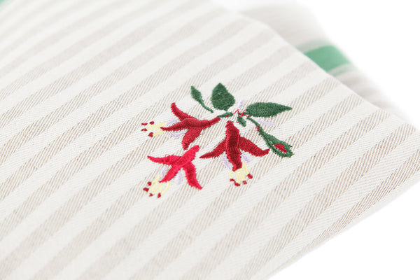 TEA TOWEL FUCHSIA GREEN STRIPE