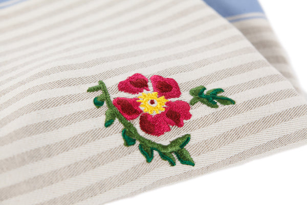 TEA TOWEL OLD ROSE BLUE STRIPE