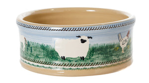 Medium Dog Bowl Landscape spongeware pottery by Nicholas Mosse, Ireland - Handmade Irish Craft - nicholasmosse.com
