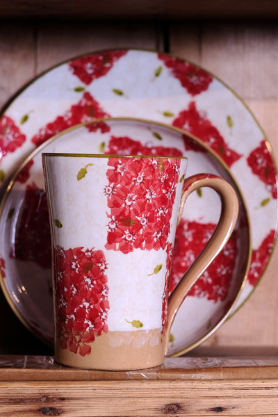 Nicholas Mosse Tall Mug Red/White Chess spongeware pottery by Nicholas Mosse Pottery - Ireland - Handmade Irish Craft