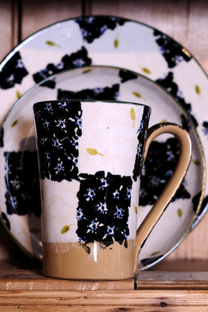 Nicholas Mosse Tall Mug Black/White Chess spongeware pottery by Nicholas Mosse Pottery - Ireland - Handmade Irish Craft