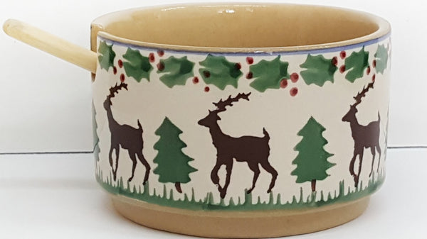 Relish Bowl Single Reindeer With Spoon