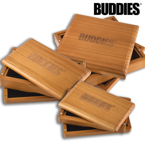 BUDDIES Stained Pine Wood Magnetic Sifter Box