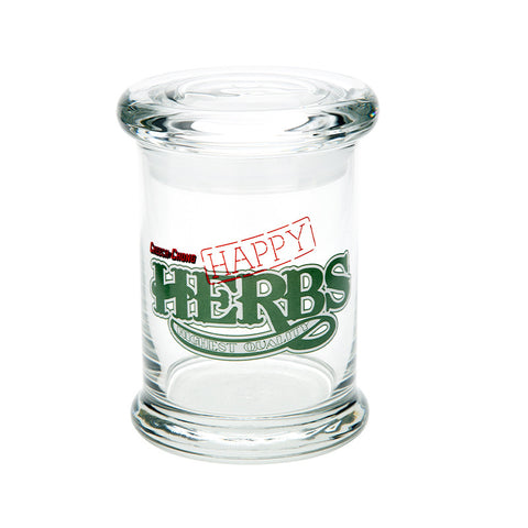 Cheech & Chong Glass Happy Herbs Pop Top Jar - Tha Bong Shop