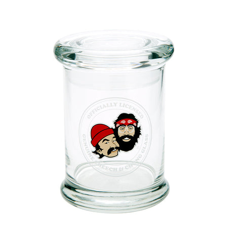 Cheech & Chong Glass Crest Pop Top Jar - Tha Bong Shop