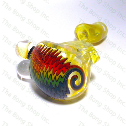 Browski Glass Silver Fumed Rainbow Wigwag Pipe - Tha Bong Shop