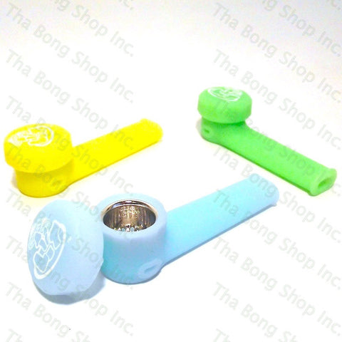 LIT GLOW IN THE DARK Unbreakable Silicone Pipe With Removable Metal Screen Bowl - Tha Bong Shop