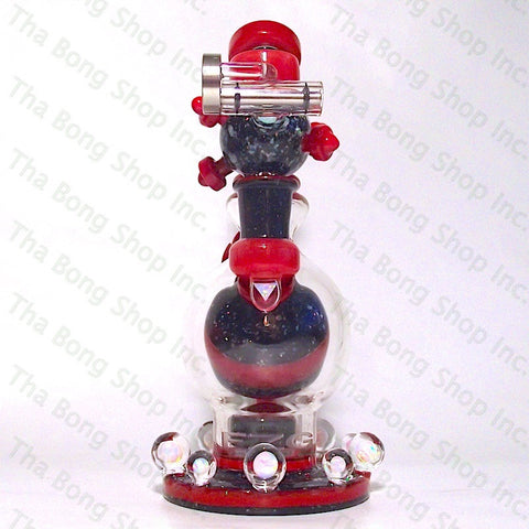 Full Zirkl Glass Red , Black & Crushed Opal Ball Rig - Tha Bong Shop