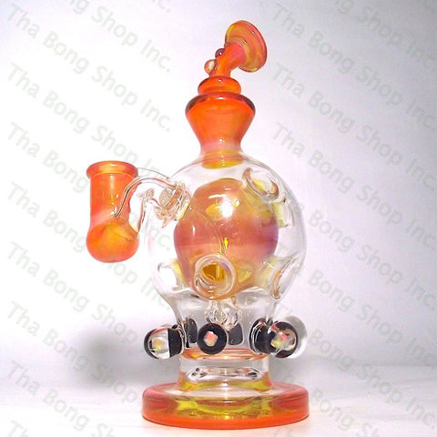 Urban Glass Orange 14mm Exosphere With Opal Marbles And Dichroic Signature - Tha Bong Shop