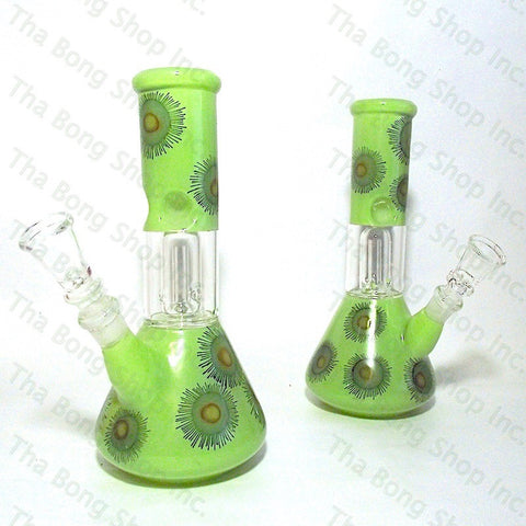 SALE ITEM Flower Pattern Green Coloured Single Dome Perc Mini Beaker Bong - Tha Bong Shop