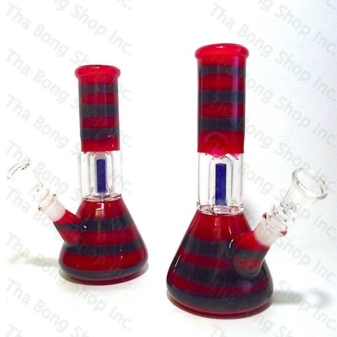 SALE ITEM Red Black Twist Coloured Single Dome Perc Mini Beaker Bong - Tha Bong Shop