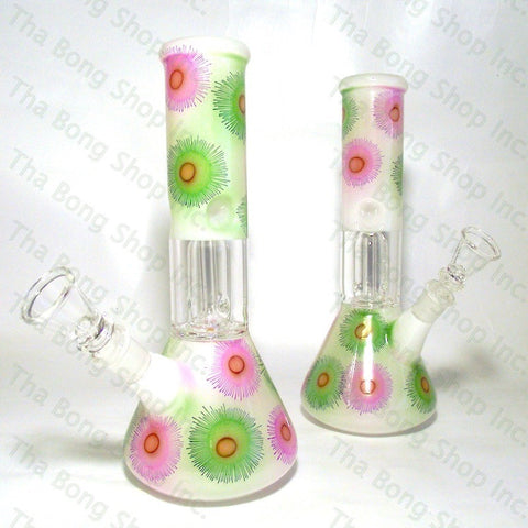 SALE ITEM Flower Pattern White Coloured Single Dome Perc Mini Beaker Bong - Tha Bong Shop