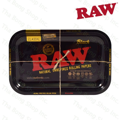 RAW SMALL BLACK ROLLING TRAY - Tha Bong Shop