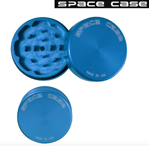 SMALL SPACE CASE BLUE MATTE  2 PIECE MAGNET GRINDER - Tha Bong Shop