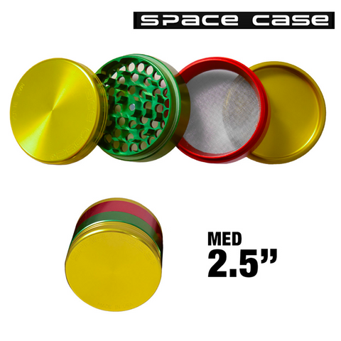 MEDIUM SPACE CASE RASTA POLLINATOR GRINDER - Tha Bong Shop