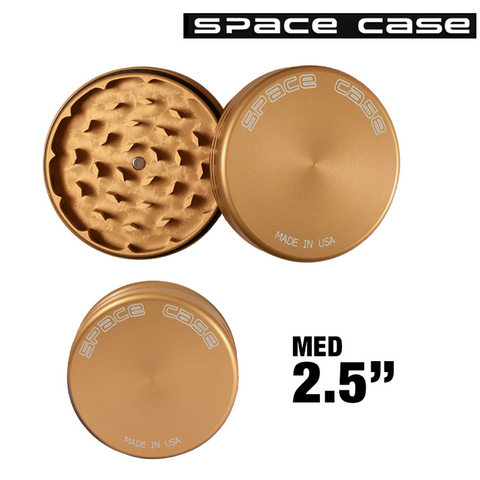 MEDIUM SPACE CASE GOLD MATTE 2 PIECE MAGNET GRINDER - Tha Bong Shop