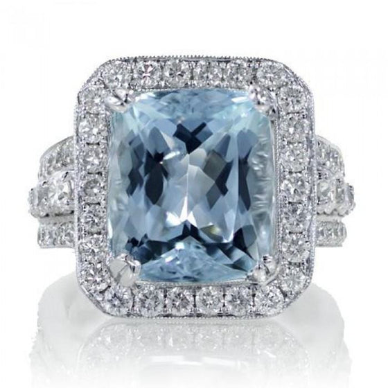 Aquamarine 12x10 cushion halo diamond anniversary ring