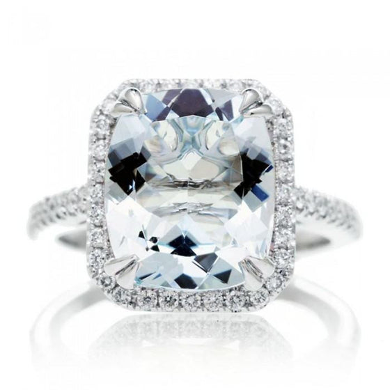Aquamarine 11x9 cushion halo diamond solitaire engagement ring